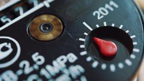 Close up shot of gas meter.