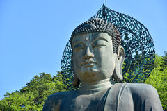 Close-Up Shot of Giant Buddha Statue at Sinheungsa Temple Royalty Free Stock Images