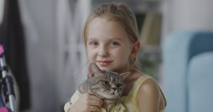 Girl holding a cat. Close up shot of girl holding a cat and looking at camera stock video footage