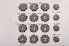 Close up shot of grey phone keypad. Wired desktop telephone royalty free stock images