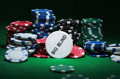 Close up shot of group poker chips on green table Stock Images