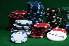 Close up shot of group poker chips on green table Stock Image