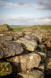 Close up Hadrian`s Wall. Close up shot of Hadrian`s Wall at Walltown Crags in Northumberland Stock Images