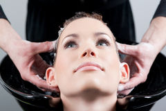 Close up shot of hairwash/hair massage Royalty Free Stock Images