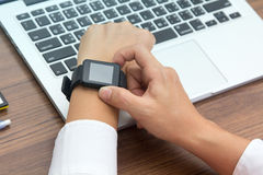 Close up shot of hand with smartwatch Royalty Free Stock Photography
