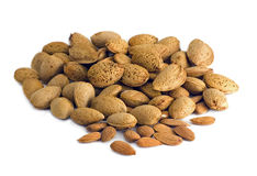Almonds on white background Stock Photography