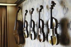 Close Up Shot Of Handmade Violins And Violas stock images