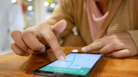 Close up shot hands of woman using smart phone select focus shallow depth of field.  stock footage