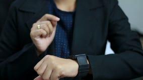 Close up shot hands of woman using smart watch.  stock video