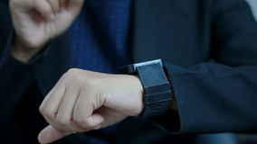 Close up shot hands of woman using smart watch.  stock video footage