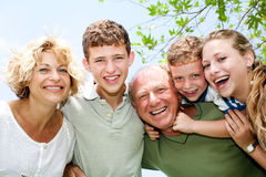 Close-up shot of a happy family Stock Photo