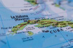 Havana on map. Close up shot of Havana. Habana. is the capital city, largest city, province, major port, and leading commercial center of Cuba Royalty Free Stock Image