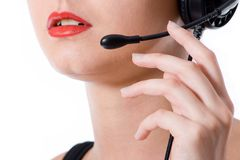 Close-up shot of a hotline worker speaking into a microphone Stock Photos
