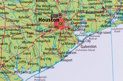 Houston on map. Close up shot of Houston. is the most populous city in the U.S. state of Texas and the fourth-most populous city in the United States Stock Photography