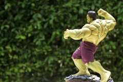 Close up shot of Hulk in AVENGERS superheros figure in action stock photo