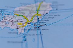 Ibiza on map. Close up shot of Ibiza or Eivissa on map,  is one of the Balearic Islands in the Mediterranean Sea off the east coast of Spain Stock Photos