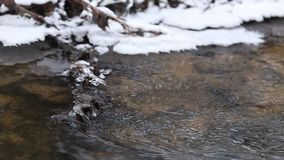 Close up shot of ice water running in a fast spring creek. Ice melting on a rock