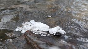 Close up shot of ice water running in a fast spring stream. Ice melting on a rock. Close up shot of running streams of clean ice water. Spring has come. Melting stock video footage