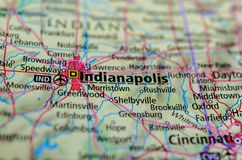 Indianapolis on map. Close up shot of Indianapolis. is the capital and most populous city of the U.S. state of Indiana and the seat of Marion County Stock Photos