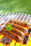 Grilled sausage. Close up shot of Italian sausage on the grill stock photos