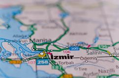 Izmir on map. Close up shot of Izmir on a map Royalty Free Stock Image