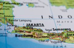 Jakarta on map stock photo