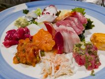 Close up shot of a Japanese style sashimi. Ate at Los Angeles royalty free stock image