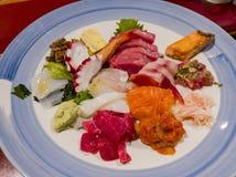 Close up shot of a Japanese style sashimi. Ate at Los Angeles royalty free stock photo
