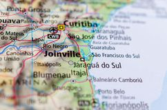 Joinville on map. Close up shot of Joinville. is the largest city in Santa Catarina State, in the Southern Region of Brazil Stock Photo