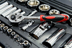 Close up shot of kit of metallic tools Royalty Free Stock Images