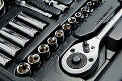 Close up shot of kit of metallic tools Royalty Free Stock Image