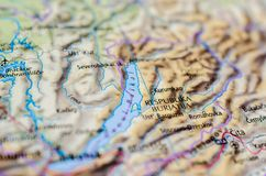 Lake Baikal on map. Close up shot of Lake Baikal. is a rift lake in Russia, located in southern Siberia, between Irkutsk Oblast to the northwest and the Buryat Stock Photography