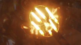 Glass globe lamp glowing stock footage