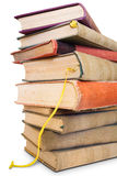 Close-up shot of a large pile of old books. Royalty Free Stock Photos