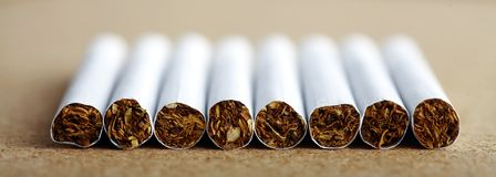 Line of cigarettes Stock Photo