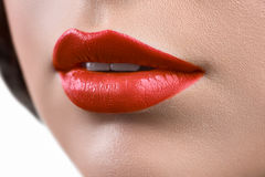 Close up shot of the lips of a woman wearing lipstick or lip glo Stock Photography