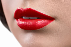 Close up shot of the lips of a woman wearing lipstick or lip glo stock image