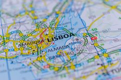 Lisbon on map. Close up shot of Lisbon or Lisboa on map, Portugal Royalty Free Stock Photos