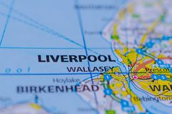 Liverpool on map. Close up shot of Liverpool on map, is a maritime city in northwest England, where the River Mersey meets the Irish Sea Royalty Free Stock Photo