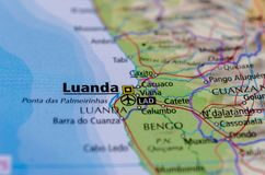 Luanda on map. Close up shot of Luanda. São Paulo da Assunção de Loanda, is the capital and largest city in Angola Stock Image