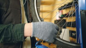 Close-up shot of male hand in greasy glove rotating broken bicycle wheel and straightening bent spokes with tools. Work. Close-up shot of male hand in greasy stock footage