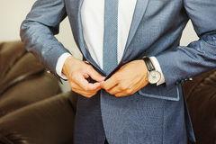 Close-up shot of a man dressed in formal wear . Royalty Free Stock Photos
