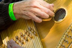 Plucking Strings on an Autoharp Close Up Royalty Free Stock Photos