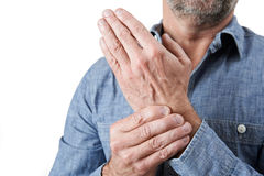 Close Up Shot Of Man Suffering With Repetitive Strain Injury Royalty Free Stock Image