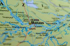 Manaus on map. Close up shot of Manaus. Barra do Rio Negro, is the capital city of the state of Amazonas in the North Region of Brazil Stock Images