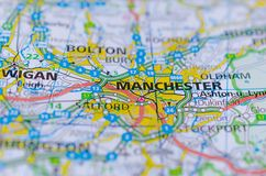 Manchester on map. Close up shot of Manchester on map, is a port city in northern France. is a major city in the northwest of England with a rich industrial stock image