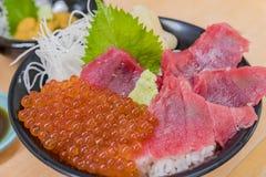 Close up shot of many salmon roe, fish sashimi with perilla leaf. Ate at Hokkaido, Japan royalty free stock photos