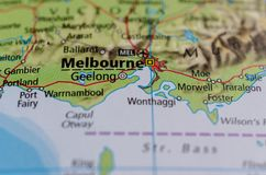 Melbourne on map. Close up shot of Melbourne on a map Stock Images