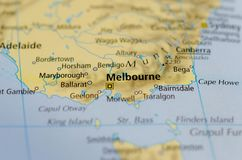 Melbourne on map. Close up shot of Melbourne on a map Stock Photo