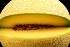 Close-up shot of melon galia notched isolated black Royalty Free Stock Photo